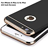 Aeetz® IPhone 6 Plus Back Covers, IPhone 6s Plus Case, Ultra-thin 3in1 Electroplate Metal Texture Hard Plastic Back Case Cover For Apple IPhone 6 Plus & 6s Plus [5.5 Inch] (Black With Gold)