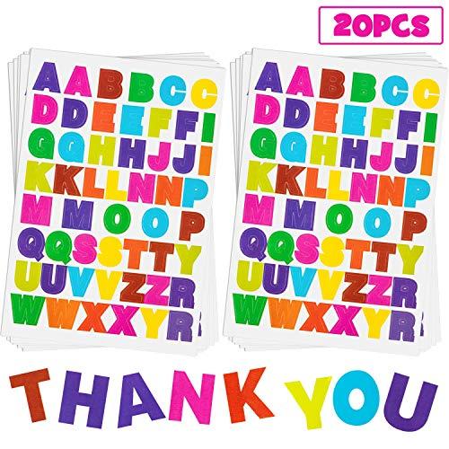 20 Blatt Alphabet-Buchstaben-Aufkleber, 10 Farben, selbstklebend, bunt, PU-Material, konvexes Gefühl Colored Letter Stickers 1 (Scrapbooking-aufkleber Buchstaben)