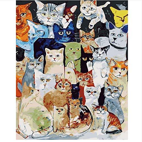 XIGZI Pintura por números Pintura por número para la decoración del hogar para la Sala de Estar Todo Kitty 40X50 CM,Sin Marco,D
