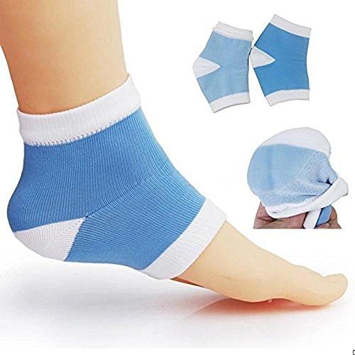 2 Paar Feuchtigkeitsspendende Silikon-Gel-Ferse-Socken für Trockene Harte Rissige Haut Feuchtigkeitsspendende Offene Zehe Comfy Erholung Socken (Blau)