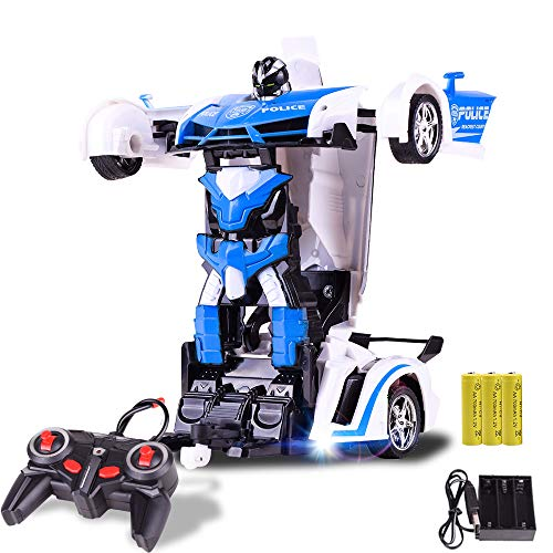 CLCYL RC Deformation Car/Remote Wireless Remote Control Transformers Toy Car Zwei Modes wiederaufladbare 360 Grad Rotation 2.4Ghz Fernbedienung Baby Car Toy,policeblue