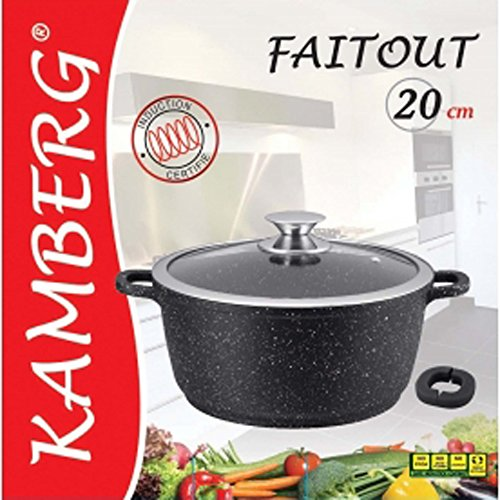 Kamberg - 0008031 - Faitout 20 cm - Fonte d'Aluminium - Revêtement type pierre - Couvercle en verre - Tous feux dont induction - Sans PFOA