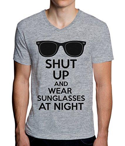 Shut Up and Wear Sunglasses at Night Men's V-Neck T-Shirt XX-Large