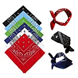 Bandanas for Men Women 6 Pack, Cotton Paisley Headbands Scarf Cowboy Bandana, Square Bandanas ideal for Hip-Hop Cycling - also as Handkerchief/Neckerchief