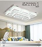 Plafonnier LED nxw803avec télécommande est la couleur de la lumière de la couronne/luminosité variable a + LED Luminaire de salon lampe suspension plafonnier plafond Spot Plafonnier LED, Chrom, Edelstahlspiel, Kristallwellen, XW803-75x50 cm, 70W, LED Leu