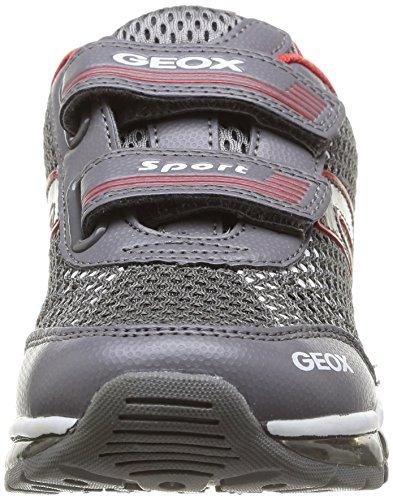 Geox J Android B A, Baskets mode garçon Gris (Grey/Red)