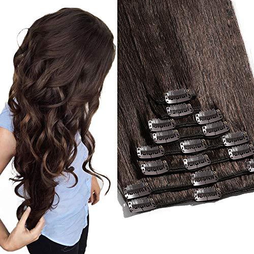 TESS Clip in Extensions Echthaar Haarverlängerung Standard Weft Grad 7A Lang Glatt guenstig Remy Human Hair 8 Tressen 18 Clips 55cm-110g(#2 Dunkelbraun)