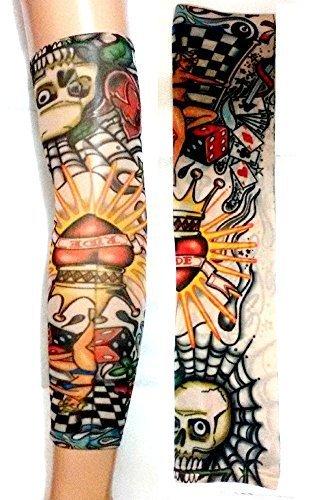 Modello 54 - manicotto tattoo indossabile. manica tatuaggio finto con immagine rosa scheletro e scritta . tatoo sleeve mezza manica tribale.