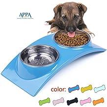 SuperDesign Rainbow Collection, extraíble acero inoxidable doble Bowl conjunto en alto brillo antideslizante soporte de melamina, para perro o gato