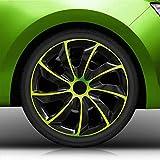 Autoteppich Stylers Bundle Aktion 16 Zoll Radkappen/Radzierblenden 002 Bicolor (Schwarz-Grün) passend für Fast alle Fahrzeugtypen - universal