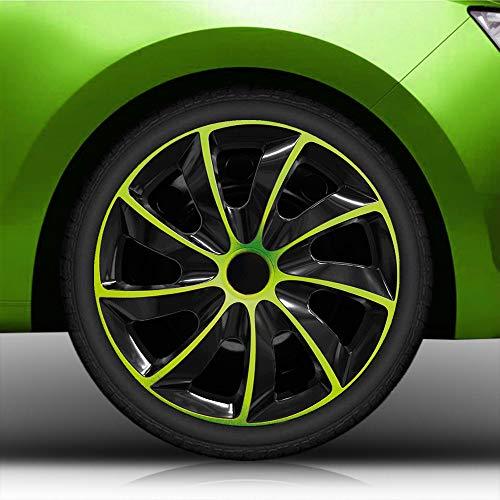 Autoteppich Stylers Aktion 15 Zoll Radkappen Radblenden Nr.002 Schwarz-Grün Bundle (Farbe und Größe wählbar!)