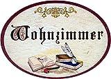 Kaltner Präsente Geschenkidee - Türschild Schild aus Holz im Antik Design Schriftzug Wohnzimmer (Ø 9 cm)