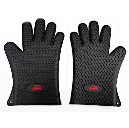 Grill Grips - Premium Silicone Heat Resistant Five Fingered Waterproof Gloves - Perfect for Handling All Hot Foods - Use As BBQ Grill Gloves, Oven Mitt, Potholders or Tailgating (Black)