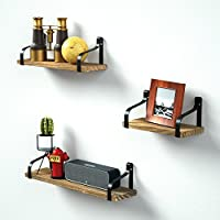 Love-KANKEI Floating Shelves Decorative Wall Shelf in Retro Style with Iron and Wood Storage Display Book Shelf Set of 3