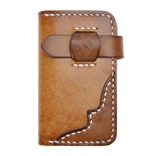 ZLYC Vintage Handmade pflanzlich gegerbtes Leder Schlüssel Wallet Karte Fall Brass braun -