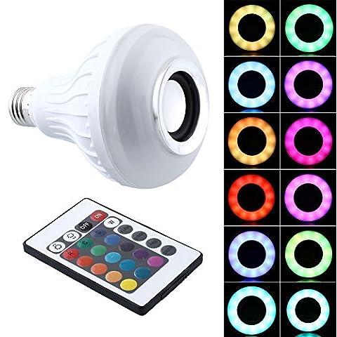 ideapro Haut-parleur Bluetooth Smart Ampoule E27LED Blanc + RGB coloré lampe Smart Musique Audio Bluetooth 3.0haut-parleur avec télécommande pour soirée/karaoké/éclairage d