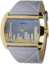 Moog Paris Skyline Reloj para Mujer con Esfera Gris, Correa Gris de Piel Genuina y Cristales Swarovski - M41882-103