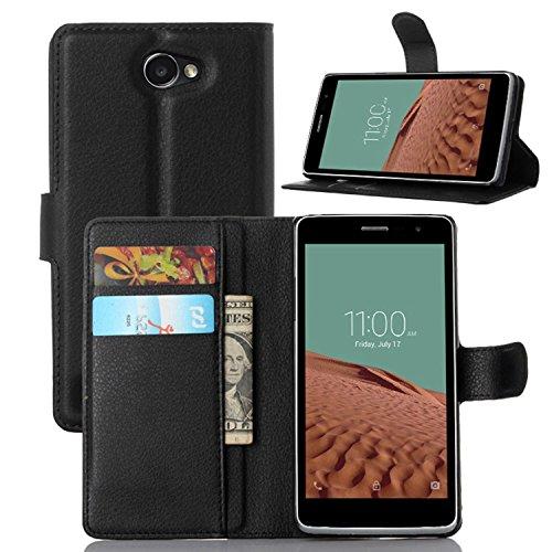 Ycloud Tasche für LG Bello II/Bello 2 Hülle, PU Ledertasche Flip Cover Wallet Case Handyhülle mit Stand Function Credit Card Slots Bookstyle Purse Design schwarz