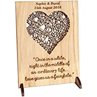 Wedding gift | personalised wooden plaque anniversary gifts for 1st 2nd 3rd 4th 5th 6th 7th 8th 9th 10th unusual wood present for husband wife or couple