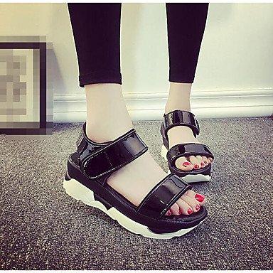 RUGAI-UE Donne sandali PU Scarpe Casual Comfort Tacchi Alti,Bianco,US6 / EU36 / UK4 / CN36 Black