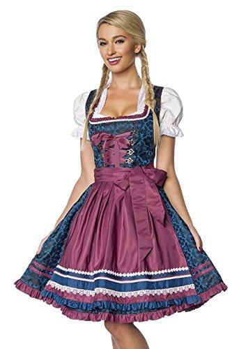 Dirndline - Vestido Dirndl - para mujer blau/dunkelrot extra-small