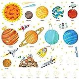 Decowall DA-1501 Sonnensystem Planeten Platz Weltraum Wandtattoo Wandsticker Wandaufkleber Wanddeko für Wohnzimmer Schlafzimmer Kinderzimmer (Groß) (Englisch Ver.)