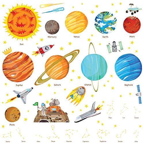 Decowall DA-1501 Sonnensystem Planeten Platz Weltraum (Groß_1501) - Kleinkind-mädchen-wand-spiegel