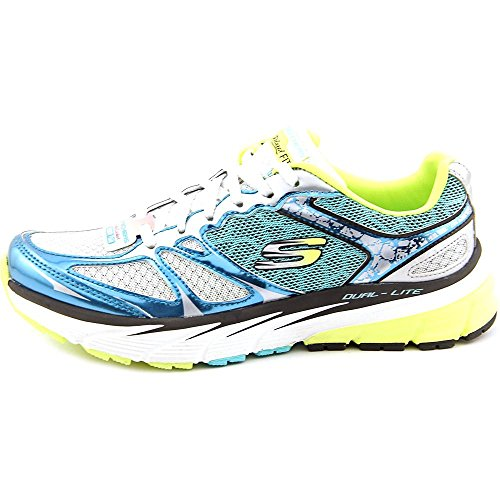 Skechers Sport Optimus moda della scarpa da tennis White/Blue/Yellow