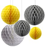 Pack of 6 Mixed Grey Yellow White Paper Honeycomb Ball Flower Christening Baby Shower Birthday Wedding Party Hanging Decoration