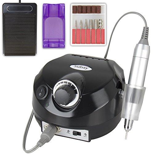 Negro Herramienta de manicura de máquina de pulido de uñas eléctrica profesional 30000 RPM para salón de manicura y hogar