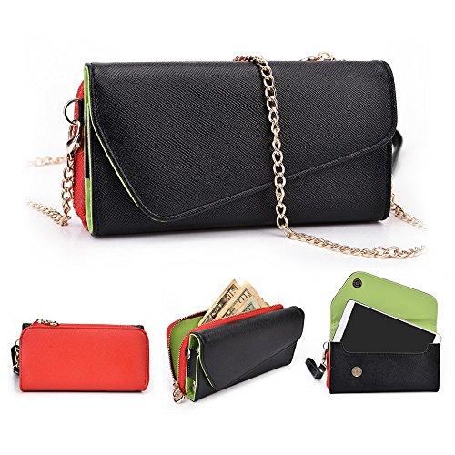 Kroo d'embrayage portefeuille avec dragonne et sangle bandoulière pour LG G flex2 Rouge/vert Noir/rouge