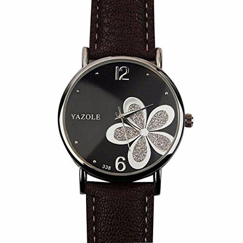 Preisvergleich Produktbild Damenuhren,Weiblich Einfache Blume Uhr Quarz Armbanduhren-Tonsee (Braun+silber)