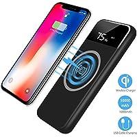 Wireless Power Bank,2 in 1 Kabellos Qi-Ladegerät und 10000mAh Powerbank für Samsung Galaxy Note 8/S8/S8 Plus/iPhone 8/8 Plus/X und alle Qi-fähigen Geräte Andere Micro-USB-Geräte(Schwarz)