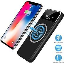 Caricabatterie Senza Fili Qi,Caricabatteria portatile 10000 mAh Batteria esterna Dual USB per Galaxy S8/S8Plus/iPhone 8Plus/X e per tutti I dispositivi compatibili Qi e altri dispositivi Micro USB (Nero)