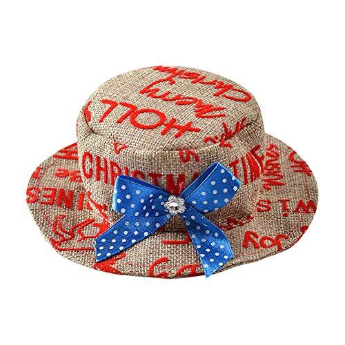 CAOQAO Chapeau De FêTe pour Animaux De Compagnie Impression De Lettre Chapeau De Soleil en Paille avec Bowknot RéGlable Casquette Noble Accessoire pour Animal Domestique Chien Et Chat,Bleu