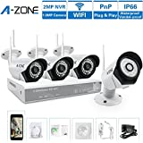 A-ZONE Systèmes de Surveillance pour la Maison 960P NVR 4x IP 1.0MP Caméra de Surveillance Sans Fil Exterieur sans Disque Dur 2TB