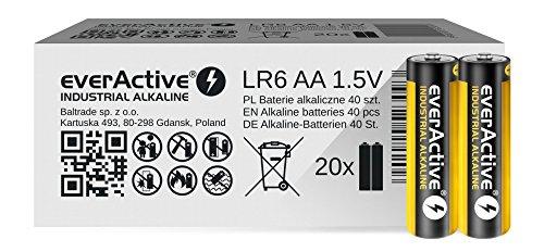 everActive AA Batterien 40er Pack, Industrial Alkaline, Mignon LR6 R6 1.5V, 5 Jahre Haltbarkeit, 40 Stück