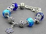 braccialetto in acciaio inossidabile Charms Modello Thurcolas Manhattan con ciondolo a forma di trifoglio con cristalli blu