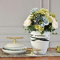 Idea Regalo - Stownn Il Vaso In Ceramica Cinese Fiore Fiore Ornamenti Magazzino Porcellana Desktop A Casa L'Arredamento Gioielli Decorazioni,Un Paio Di Fiori