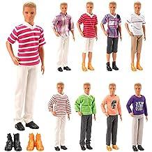 Miunana 5 PCS Accessori per Bambola Maschio Ken Dolls Fidanzato di Barbie   3 PCS Abiti a360f5e9f5d
