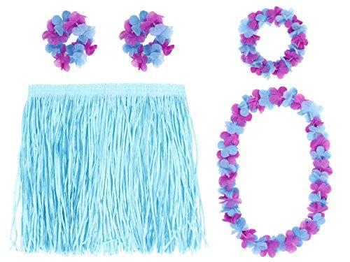 Alsino Hawaii Kiki 5-tlg Set 52426 Hawaiiparty Beachparty Armband Hula Bastrock Lei Set, wählen:Hawaiiset blau 52426