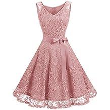 491baace5d Dressystar Vestido Corto Elegante Mujer De Encaje Sin Mangas con Lazo para  Madrina Fietsa