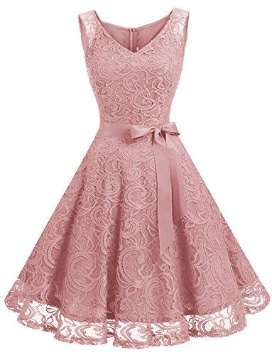 Dressystar DS0010 Brautjungfernkleid Ohne Arm Kleid Aus Spitzen Spitzenkleid Knielang Festliches Cocktailkleid Blush L (Vintage-stil-cocktail-kleid Plus)