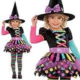 Buntes Hexenkostüm Happy Halloween für Mädchen 98/104 (3-4 Jahre)