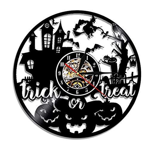 r Kinder Wanduhr Trick oder Film Musik Vinyl Record Clock Halloween Dekoration Wandkunst LED Nachtlicht Wanduhr mit Farbwechsel ()