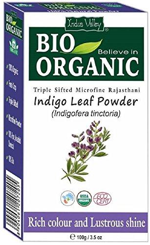 Tintura per capelli in polvere microfibra naturale indaco naturale indus valley con libro di ricette gratuito 100g (indigo powder)