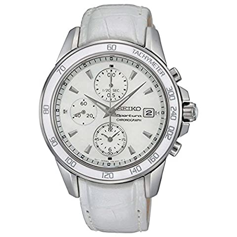 Seiko SNDX99P1 – Quartz – Ladies Watch – Quartz – Chronograph – Mother of Pearl Dial – White Leather