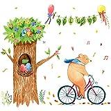 XCGZ Wandsticker Cartoon Radfahrer Bär Wandaufkleber Kinderzimmer dekorative Aufkleber Wand