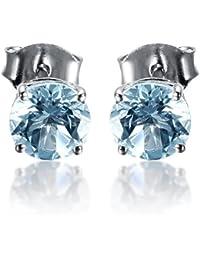 Hutang joyas plata de ley 9250.97ct aguamarina Natural Fine Gemstone Stud Pendientes para las mujeres de