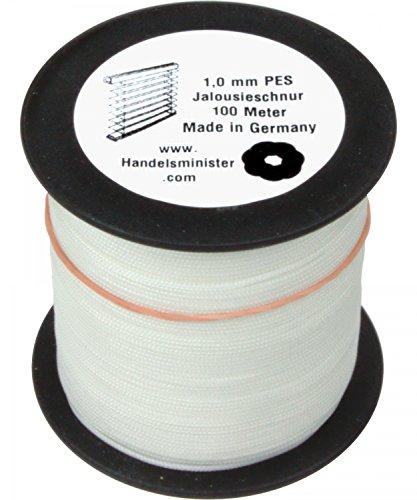 Jalousieschnur Plisseeschnur 100m Zugschnur für Plissee Raffrollo Jalousie Ersatzschnur, Farbe:weiß, Durchmesser:1.0mm